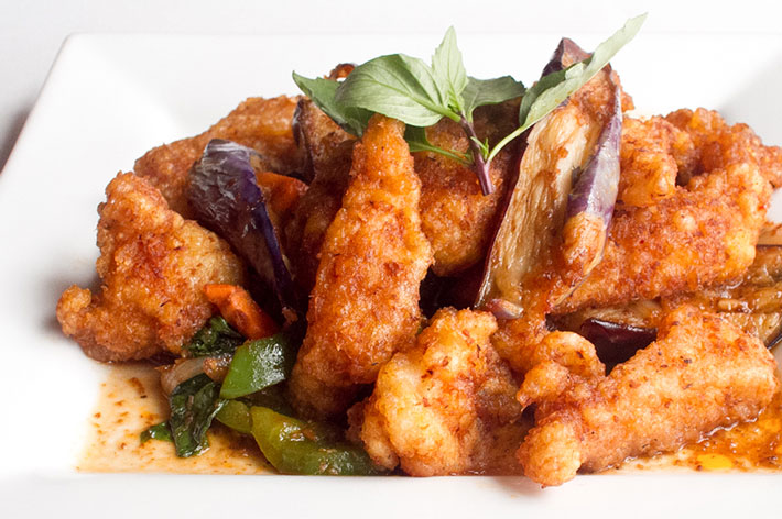 Crispy Fish Fillet with Spicy Eggplant
